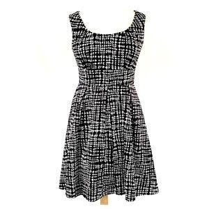 Calvin Klein Cotton Geometric Pattern Flare Dress